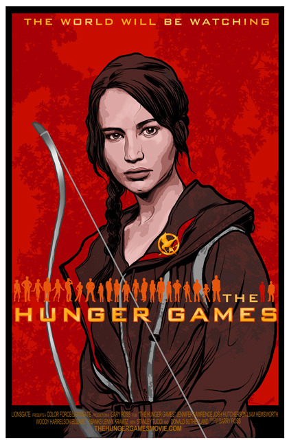 Hunger Games Poster I have it.  I've got the Hunger Games Fever.  And the only way to properly get rid of it was to put together this poster. It started out as an idea of using the 24 characters as the focus of the poster.  Lined up with the book's main character Katniss spotlighted.  As I sketched it out though it became something else entirely.  It's different than what I imagined but It's still pretty fun. I can't wait to watch the movies now.  Tore through the books over the summer and have avoided all spoiler imagery for the film.  I want to go in as fresh as possible which I'll admit is a little unrealistic considering I know who lives and dies, when they live and die and how they live and die. Still… HUNGER GAMES!!!! Head on over to JOE LOVES CRAPPY MOVIES to read my comic and review later this weekend.