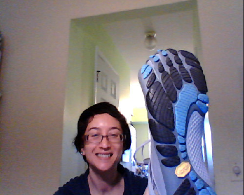 LOOK!! LOOK!! I have new Vibram FiveFingers!!! My dividend from REI came, and as expected it was a generous one this time. So I rushed over to REI to spend it and came home with these fabulous Bikila LS VFFs. They are so comfy!! Like slippers that hug my whole foot and each of my little toesies. And I went out for a nice walk with my daughter yesterday evening and we went a couple of miles around the neighborhood. It felt great! But my left foot is clearly weaker than my right, because after a couple miles it started to feel a bit tired around the toes. Feels fine this morning, though, so I'll take them out for another spin after I get my son on the bus.