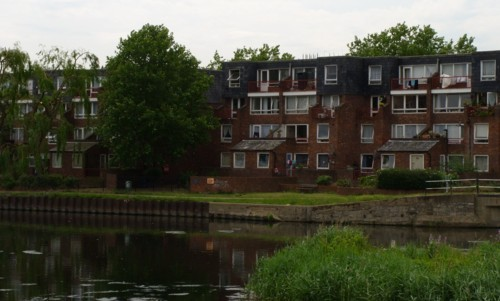 Rear of houses on Reedham Close, N17, backing onto the River Lea | Photo: Iridescenti