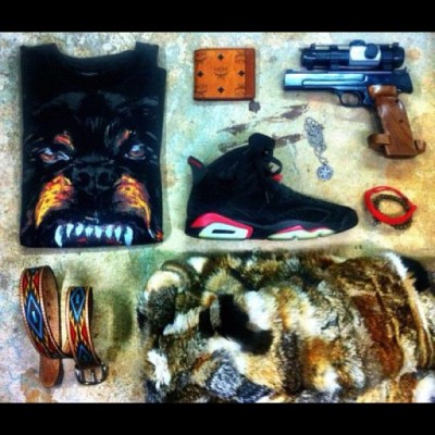 #givenchy #fur #jordans #smithnwesson (Taken with instagram)