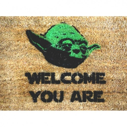 "Yoda knows this doormat rocks! If you love Star Wars, you'll love this doormat. This mat reads- ""Welcome you are""A great housewarming wedding or anniversary gift for a sci-fi fan!"