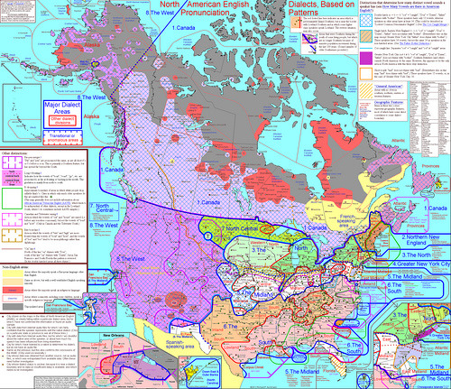 "scottnolansmith:  Map showing regional accents in the US and Canada. (via BeyondDC)  Meh. It's close, but there's literally no way my Vancouver people talk exactly like they do in the T.Dot. (To start with, those weirdoes don't even say ""dude!"" What's wrong with them??) I'll wager that little blue line marking the border might be more porous on the left coast than the right. And the accents on Vancouver Island (where my aunt and grandparents live) are a whole thing in and of themselves. Also, pretty much nobody in my city says ""aboot"" or ""eh,"" so just you shoo that old canard out of your heads as soon as possible. (Fucking Tim Horton's and their Canadian cultural imperialism!)"