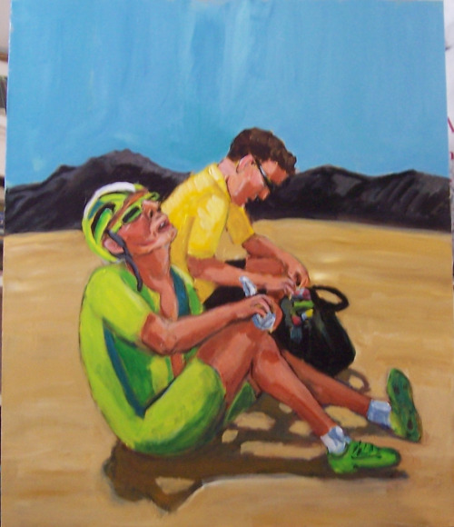 Exhausted cyclist and his soigneur, copyright Janice Trecker