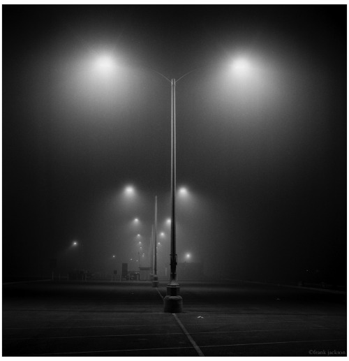 philmz:  lights fog 2:30am pacific coast highway santa monica  Not mine, but totally a shot I'd take. Love this.