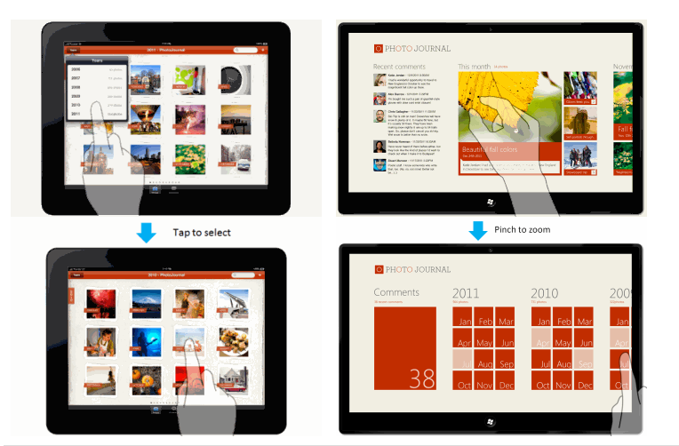 "Very interesting case study by Microsoft about the differences between (UX) designing for iPad vs. Windows 8 Metro style. ""In this case study we want to help designers and developers who are familiar with iOS to reimagine their apps using Metro style design principles. We show you how to translate common user interface and experience patterns found in iPad apps to Windows 8 Metro style apps. We draw on our experience building the same app for the iPad and for Windows 8. We use common design and development scenarios to show how to leverage the Windows 8 platform and incorporate Metro style design principles."" Check it out: Design case study: iPad to Windows 8 Metro style app"