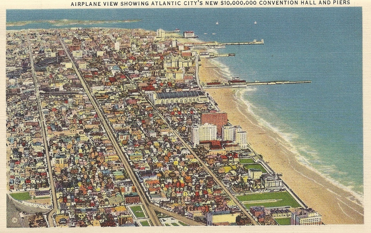 Airplane view showing Atlantic City's new $10,000,000 Convention Hall and Piers