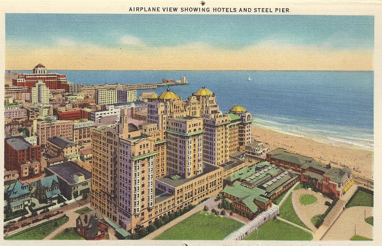Airplane view showing hotels and steel pier
