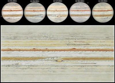 Jupiter Unplugged   Drawing Credit & Copyright: Frédéric Burgeot  Explanation:  Five hand drawn sketches of Jupiter were used to create this beautifully detailed flat map of the ruling gas giant's turbulent cloud tops. Made with colored pencils at the eyepiece of a 16 inch diameter telescope, the original drawings are about 5 inches (12.5 cm) in diameter. The drawn planisphere map dimensions are 16x8 inches (40x20 cm). Observing on different dates in November and December of 2011, astronomical artist Fred Burgeot has relied on Jupiter's rotation to cover the planet's complete circumference. Digital animator Pascal Chauvet has also translated Burgeot's drawings into an intriguing video (vimeo), synthesizing a telescopic view of the rotating planet with a tilt and phase appropriate for the observing dates. The video includes the Galilean moons moving along their orbits, beginning with Ganymede and Io casting shadows as they glide in front of Jupiter, followed by Europa and Callisto passing behind the planet's banded disk.