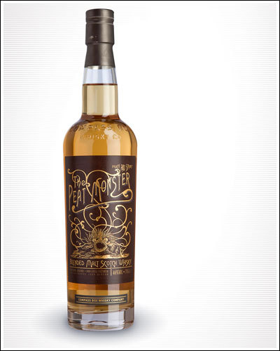 Packaging for Compass Box Peat Monster Whiskey by Best Typography in the World Whiskies Design Awards, a competition we were previously unaware of, but now regard as the MOST IMPORTANT DESIGN COMPETITION EVER.