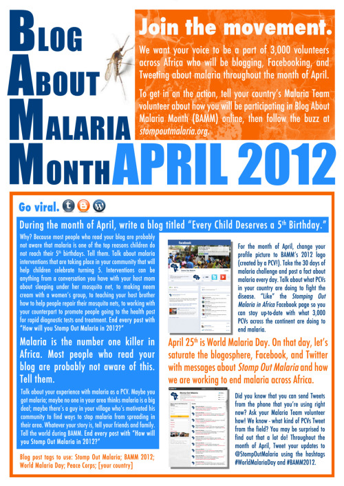 Because one day isn't enough. Stomp Out Malaria presents BAMM: Blog About Malaria Month in celebration of World Malaria Day 2012. How will you Stomp Out Malaria during this April?