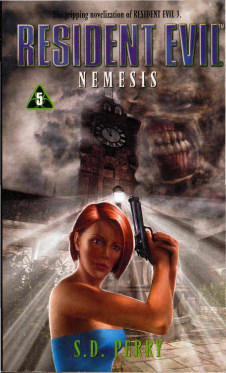 Resident Evil 3: Nemesis novellisation cover. Someone should really turn that streetlight down.