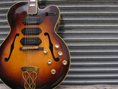 "Gibson ES-5 1949-1962Maple, Rosewood The ES-5 was first revealed at the 1949 NAMM convention as ""the supreme electronic version of the famed Gibson L-5"". It was the first Gibson model to feature three pickups. That is also the first Gibson to feature volume knobs with a 0-10 graduation. The original price tag was $395, which was well below the price of a Super 400. A four-way switch was eventually added in 1956 and the model was renamed ""ES-5 Switchmaster"". A year later, the P-90s were replaced by the legendary PAF pickups. The Es-5 was reintroduced between 1995 and 2006 as a Custom Shop model."