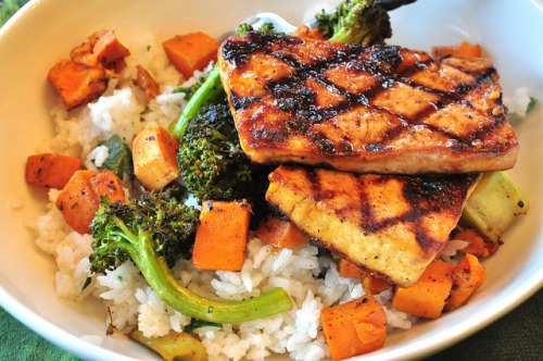 tofu666:  Jerk Tofu, Caribbean Vegetables with Coconut Rice
