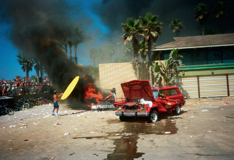 americanphoto:  100,000 rioting California surf fans ca. 1986. 25 photos. One amazing book. Take a look at Nick Waplington's SURF RIOT. Photo: © Nick Waplington