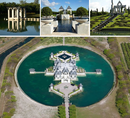 An epic, moat-surrounded architectural masterpiece that was once used as the backdrop for hip-hop artist Birdman's 2010 single 'Fire Flame' (NSFW/language) has hit the market in Miami, FL. Designed and owned by master builder Charles Sieger of Sieger Suarez, the magnificent castle manse serves as a lesson in dynamic lines and flawless symmetry.