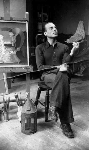 chagalov:  Gherasim Luca in the atelier of Victor Brauner, Paris, 1938 -by Victor Brauner [more on Gherasim Luca chez yama-bato…] from binoche