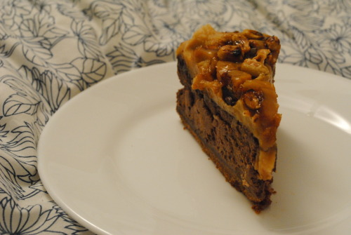 A Hunk o' Happy, formally known as Peanut Butter Chocolate Cheesecake (from Vegan Folie's). And what, may I query, comprised YOUR St. Patrick's Day dinner?