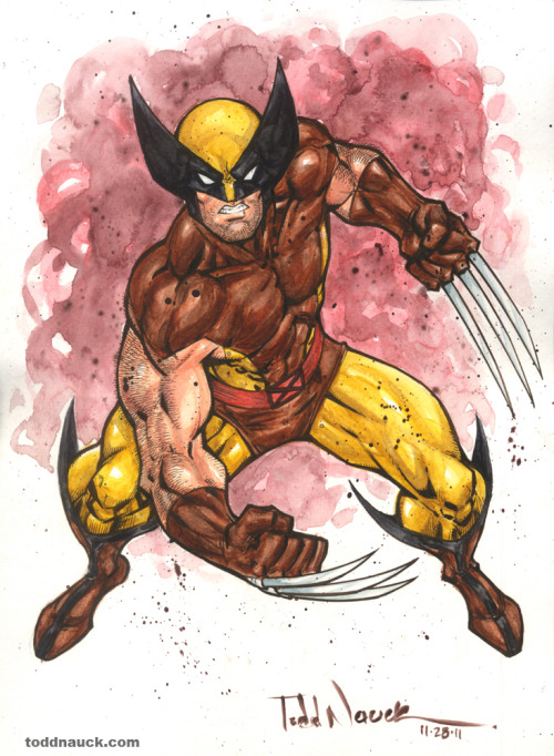 Wolverine. Watercolor and Sepia Pigma Micron markers.