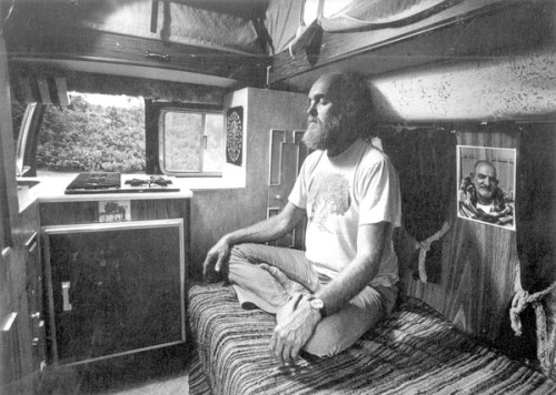 Ram Dass meditating in his van, 1977
