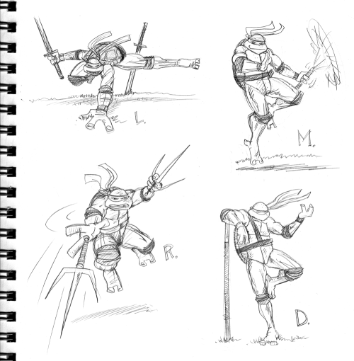 Ninja Turtles sketch! with all the TMNT talk online lately, I felt the urge to draw my old friends when I opened up my sketchbook yesterday. I used to draw the Turtles ALL the time. I was BIG into them. even a member of the official fan club. (and no, I am NOT in favor of them potentially being Bay-style aliens. nuh. uh.)