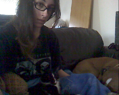 Kitty and puppy cuddles, crocheting and boyfriend's tshirt. Not too bad of a morning after The Hunger Games!