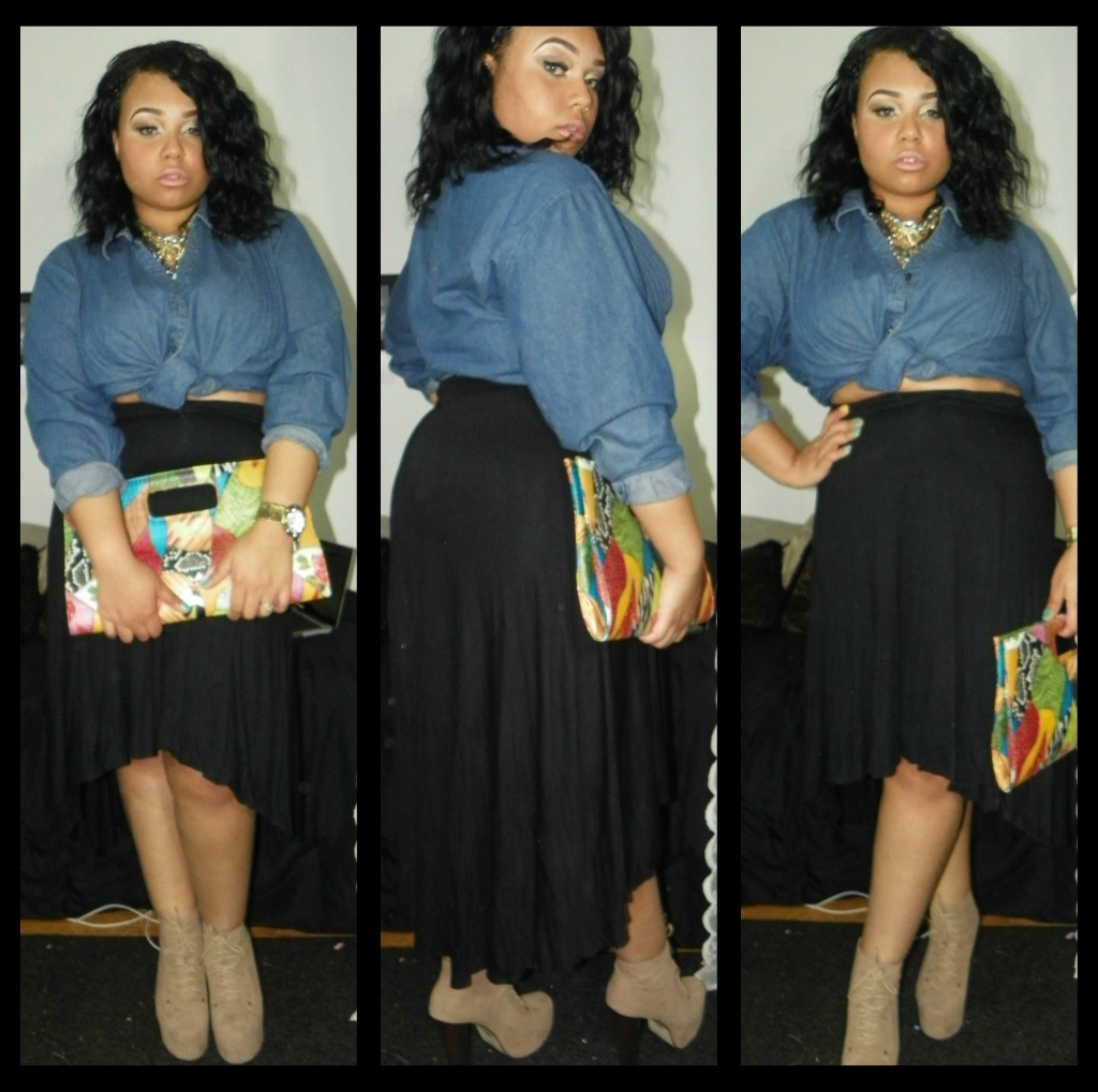 Outfit of the day <3  Beginning of spring high & low skirt ft tie front denim