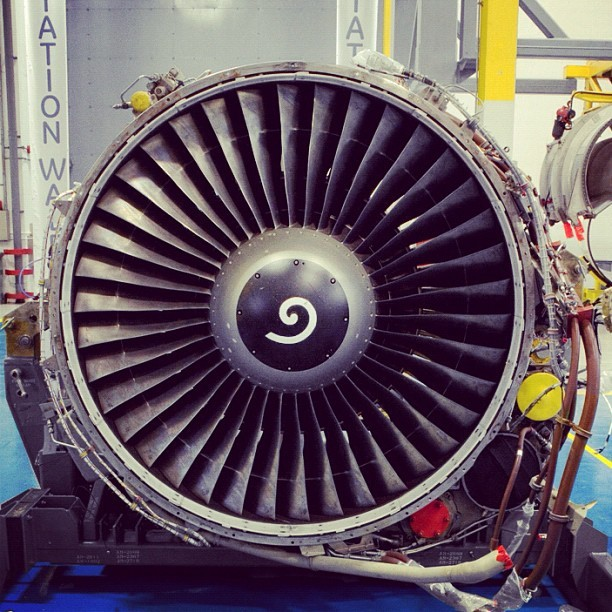 Up close with a CFM56 #engine at #GE #Aviation in Wales, UK. Shot by @adamsenatori. #technology #manufacturing (Taken with instagram)
