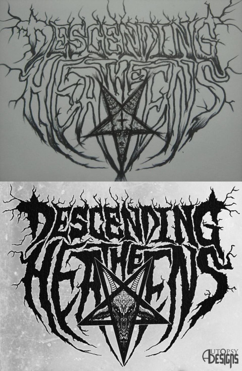 "Descending The Heavens New Logo - The band had this drawing of their logo. We just ""cleaned"" it a bit and did a few adjustments as you can see.  Original art by James Klopstein"