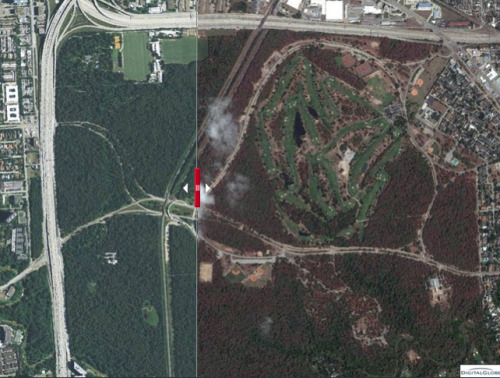 Before and After: the Southwest drought from space Dead Trees in Memorial Park, Houston, TexasBefore (left): May 3, 2010 | After (right): September 26, 2011 The Southwest drought has had a devastating impact on the state's trees. The Texas Forest Service estimates more than 500 million trees were killed by the drought. The trees that were under the most stress were actually urban trees, when local governments restricted watering public landscapes. These pictures from the Texas Forest Service show Memorial Park in Houston, where trees turned brown and died over the course of a year. Move the slider over to see before and after shots of this image and more here.  (Image from USGS) -KC