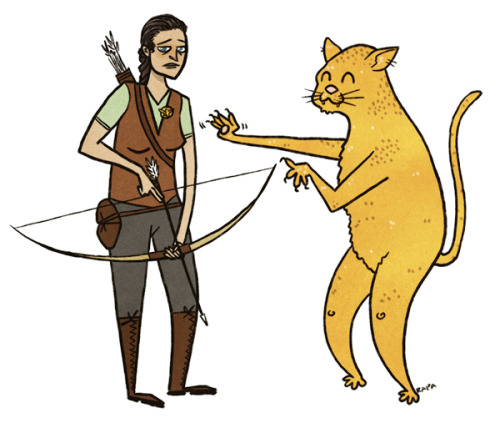 Katniss fights her anthropomorphized counterpart Catness.