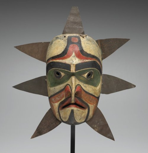 centuriespast:  TITLE:Sun MaskARTIST:Kwakwaka'wakw (Kwakiutl)DATE:c. 1860MEDIUM:Wood, metal, pigment, cord, clothDIMENSIONS:17 1/4 x 15 3/4 x 4 7/8 in. (43.82 x 40.01 x 12.38 cm)CREATION PLACE:North America, Canada, Northwest Coast region Minneapolis Institute of Arts