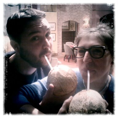 """ Just drinking juice out of coconuts with @missmayim, on the set of #BigBangTheory. You know, like you do.""-@WilW"