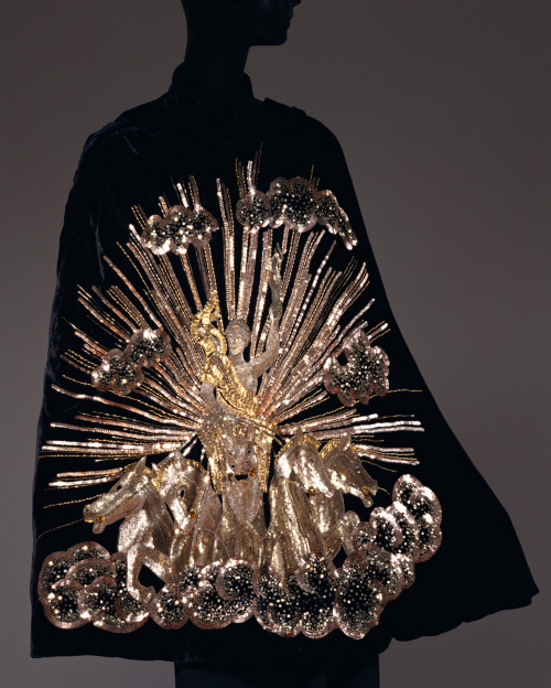 "A breathtakingly sequined velvet evening cape entitled ""Apollo of Versailles"", Schiaparelli, 1938."