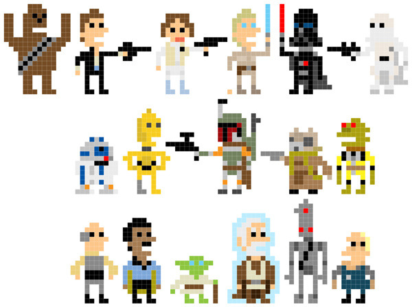 futurebytes:  Andy Rash's Pixelated Star Wars Characters: a Long Time Ago in a Galaxy 8-Bits Away