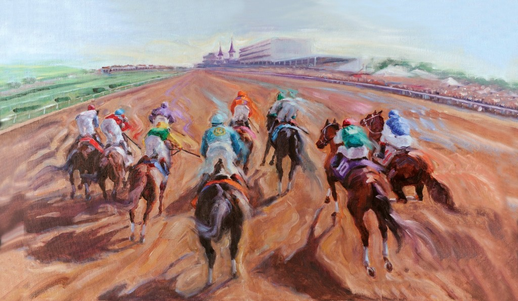 """Out of the Gate"" by artist Celeste Susany  for Kentucky Derby 138 of Churchill Downs, Louisville Kentucky which appears on the commemorative Early Times Mint Julep Bottle 2012"