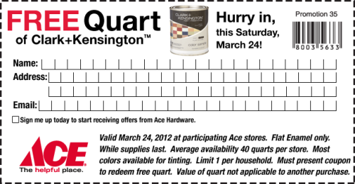 Tumblr Teachers: ACE Hardware is giving away a free quart of paint tomorrow. Use this coupon. Free paint for a small classroom or craft project? Why not? (via Ace - Create Your Own Sale)