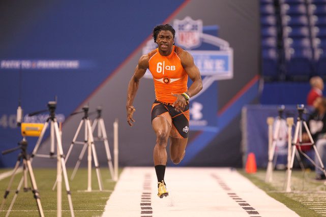 Robert Griffin III works out at the NFL Combine. The former Baylor quarterback clocked an unofficial 40 time of 4.38, the fastest by a QB since Michael Vick. In Don Banks' latest mock draft, Griffin will be selected by the Redskins with the second overall pick. (Todd Rosenberg/SI) BANKS: 2012 Mock Draft 3.0GALLERY: Top 50 NFL Draft Prospects