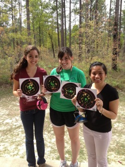 FINALLY got some of my girl friends to come out to the range! I am proud to say that I taught them both how to shoot and handle the gun.  Cybill gave me a run for my money! ;)