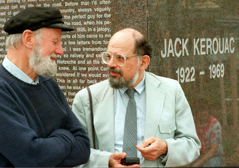 thebeathotel:  Lawrence Ferlinghetti and Allen Ginsberg at the Kerouac Commemmorative, Bridge St. Lowell Massachusetts