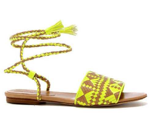 Rebecca Minkoff Tie-Up Sandals Yellow has been one of the main colors popping up in shoes this season, and these Rebecca Minkoff sandals are the perfect combination of color and practicality.