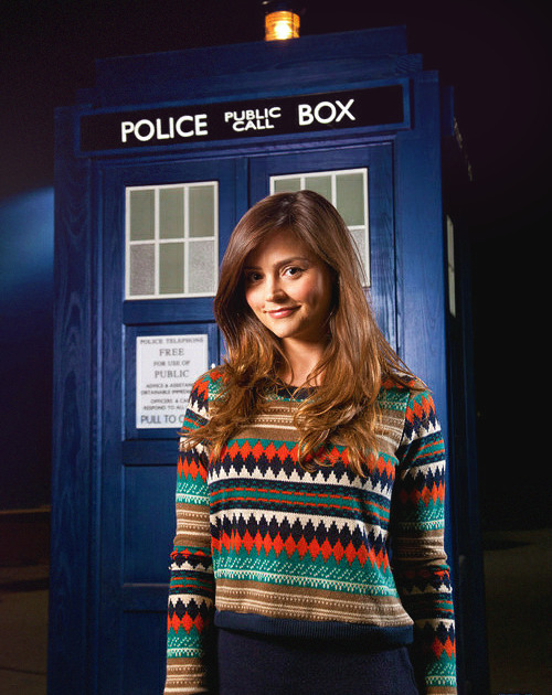 First Official Promo Image of Jenna-Louise Coleman with The TARDIS!— https://pic.twitter.com/pftKFSjD.  NICE JUMPER, GIRL.