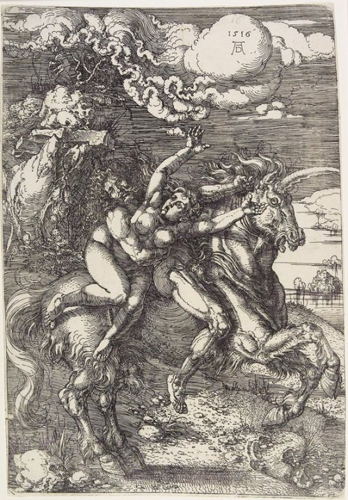 Abduction on a UnicornARTIST:Albrecht DürerDATE:1516MEDIUM:EtchingDIMENSIONS:12 1/8 x 8 1/4 in. (30.8 x 20.96 cm) (plate)CREATION PLACE:Europe, Germany, Nuremberg The Minneapolis Institute of Arts
