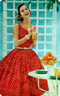 Gorgeous Polka Dots!  theniftyfifties:  Model wearing a red and white polkadot dress, 1950s.