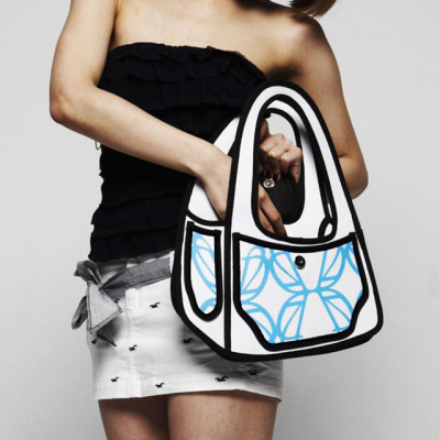 npr:  WANT!  laughingsquid:  Handbags That Cleverly Look Like 2D Cartoons   FCKn Oriqnal ! , im sso set .