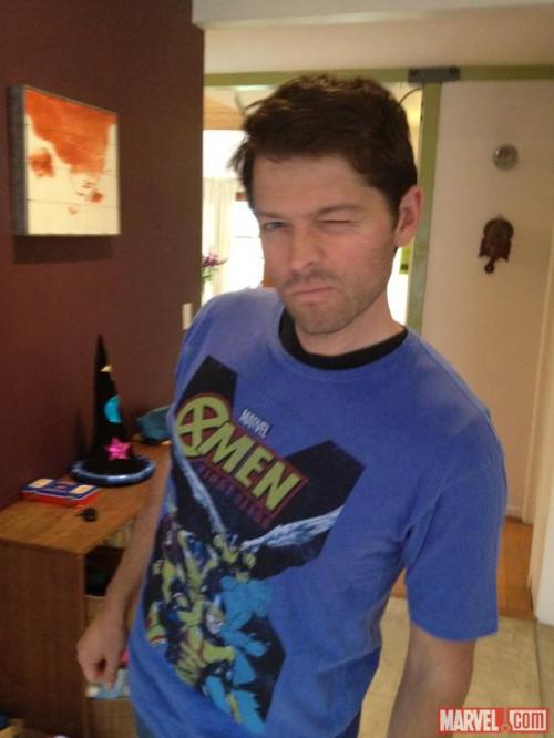 tabru:  charmingtillthelast:  polyxena19:  OMG X-MEN!  Hey Misha, it's awesome to know that you shop at Target too! Not that I own that shirt or anything.  /gross sobbing