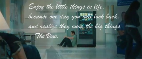 """ Enjoy the little things in life, because one day you will look back, and realize they were the big things.  - The Vow. """