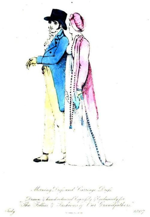 "The Follies and Fashions of our Grandfathers, July 1807. I almost didn't post this one because the quality is so low, but a few elements were irresistable:  the bright colors, ""the coat trimmed all round with a border of small brown roses,"" and the spats on his shoes- SWOON!"