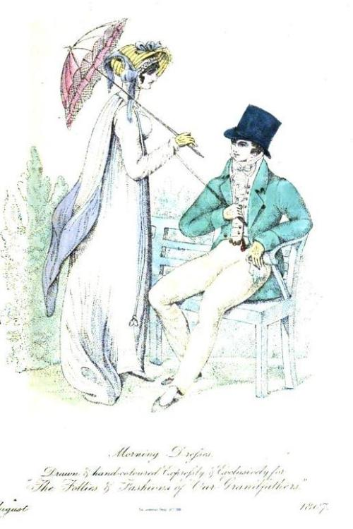 The Follies and Fashions of our Grandfathers, Morning Dresses, August 1807. Oooh!  What a lovely parasol!