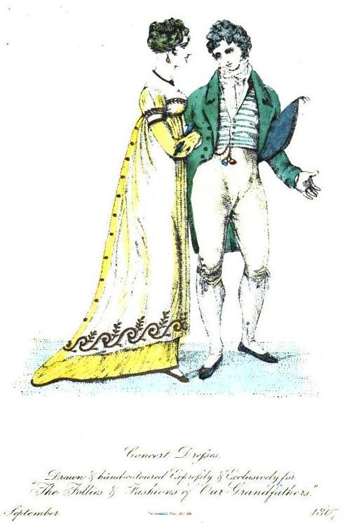 "The Follies and Fashions of our Grandfathers, Concert Dress, September 1807. What a truly stunning gown!  This issue also held a fascinating announcement in the ""births"" section- typically reserved for the peerage and famous people- that I couldn't resist throwing in: ""Lately a poor woman, aged 22 years, residing in Lahinch, near Ennistimon, Ireland, was safely delivered of five children, three sons and two daughters, who, with the mother, are all in a most thriving way."" Imagine QUINTUPLETS in 1807!  I'm sure she and everyone else involved was quite surprised and it seems like a miracle that they all survived given the risks associated with multiple births."