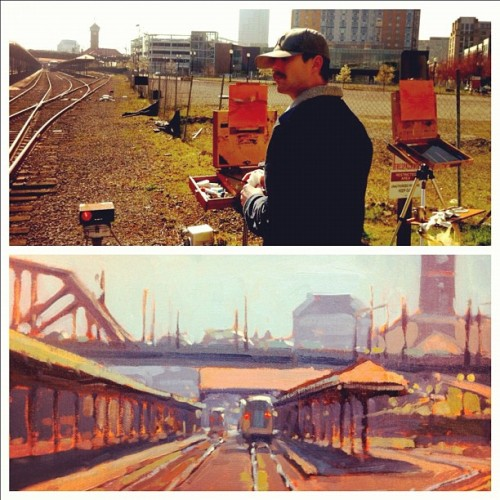 Painting the tracks with Frank Krifka today (Taken with instagram)